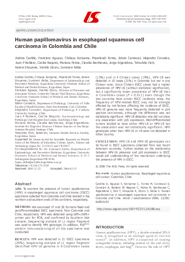 human papillomavirus in esophageal squamous cell carcinoma