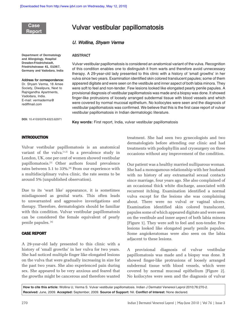 vestibular papillomatosis linear