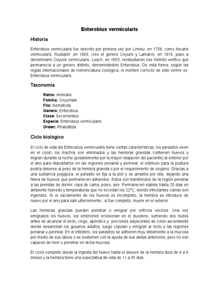 enterobius vermicularis genero y especie)
