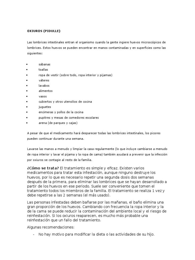 oxiuros recomendaciones)