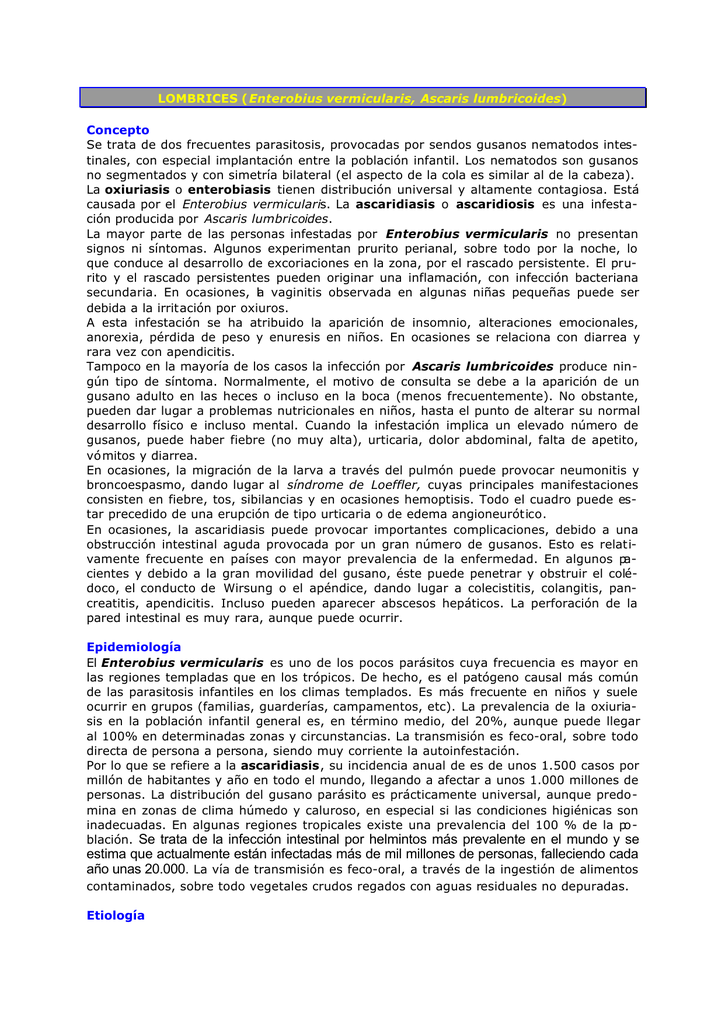 oxiuros tratamiento piperazina)