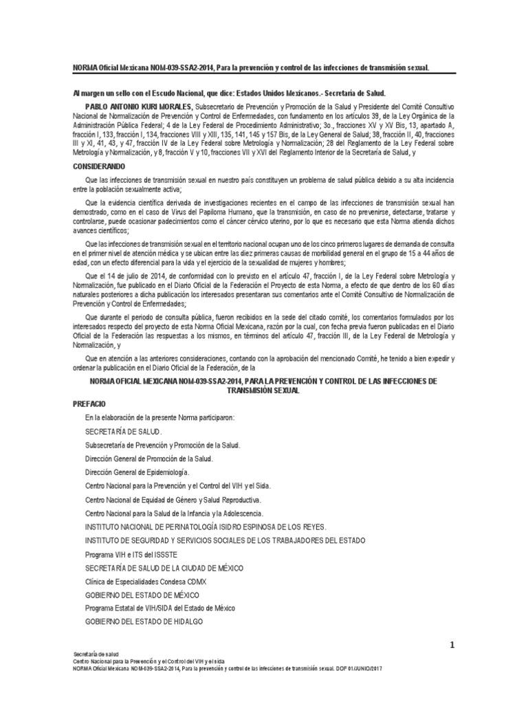virus papiloma humano norma oficial mexicana)