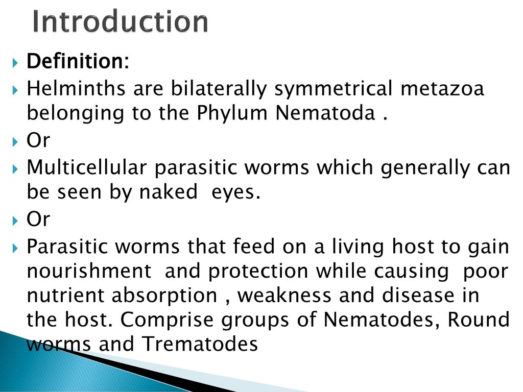helminthic infestation definition)