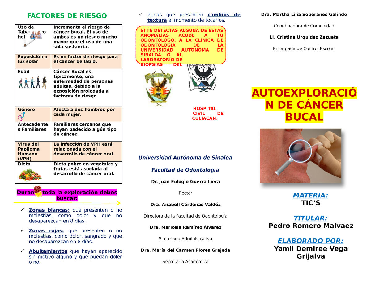 cancer bucal triptico