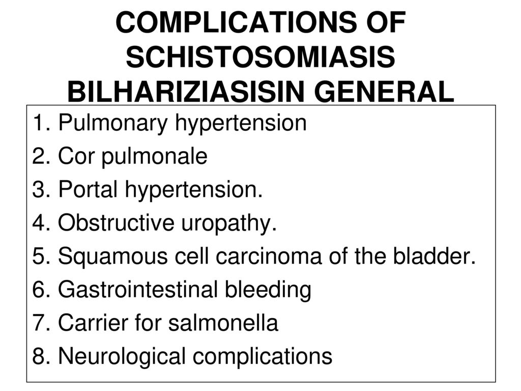 schistosomiasis complications