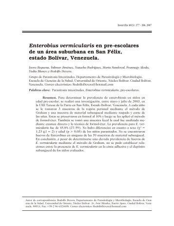 enterobius vermicularis caso clinico