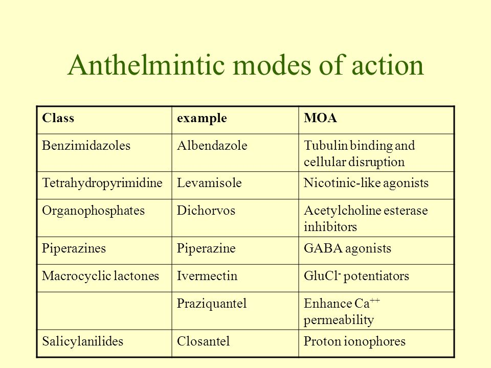 anthelmintic classes