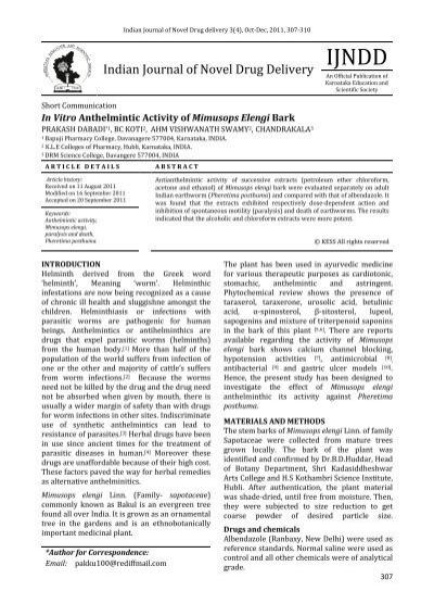 anthelmintic activity of aloe vera