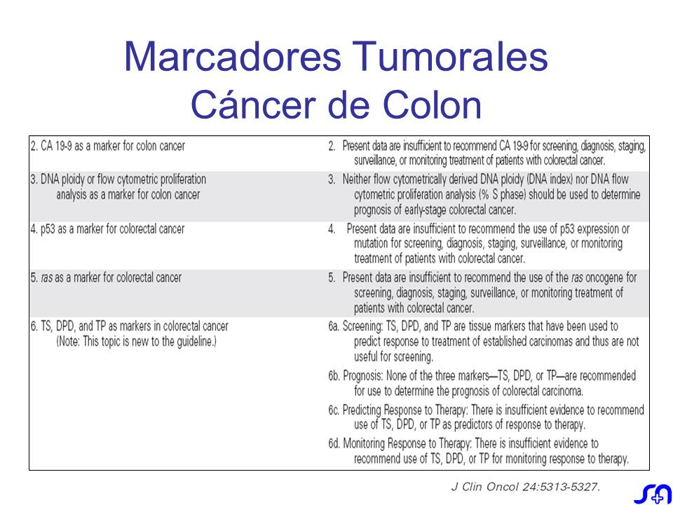 cancer de colon marcadores tumorales)