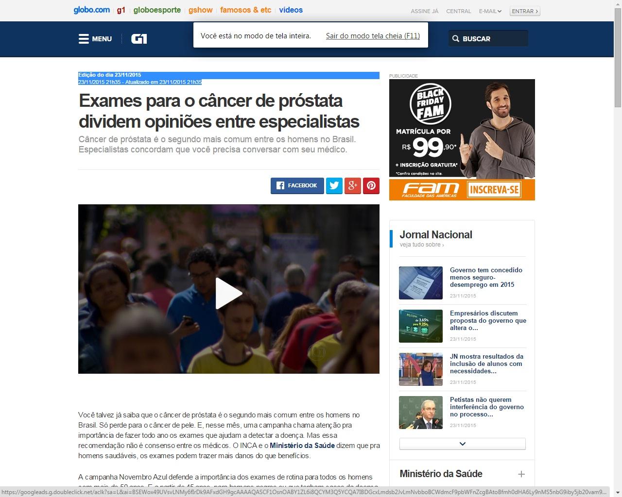 cancer de prostata jornal nacional
