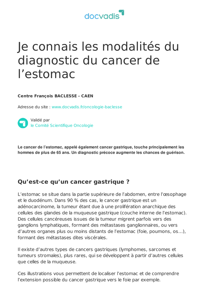cancer gastrique sarcome)