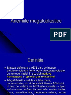 anemie megaloblastica tratament)