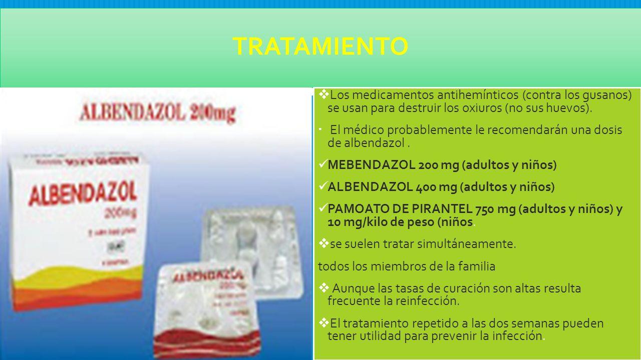 oxiuros tratamiento mebendazol pediatria)