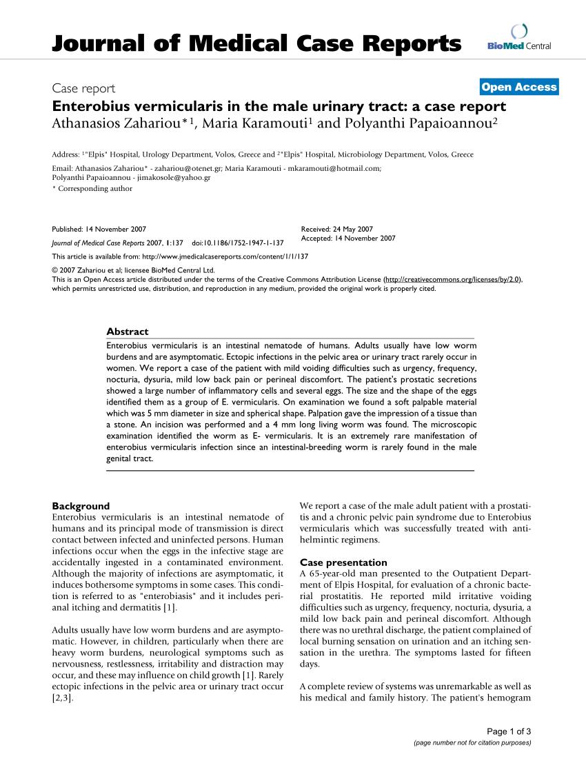 enterobius vermicularis journal)