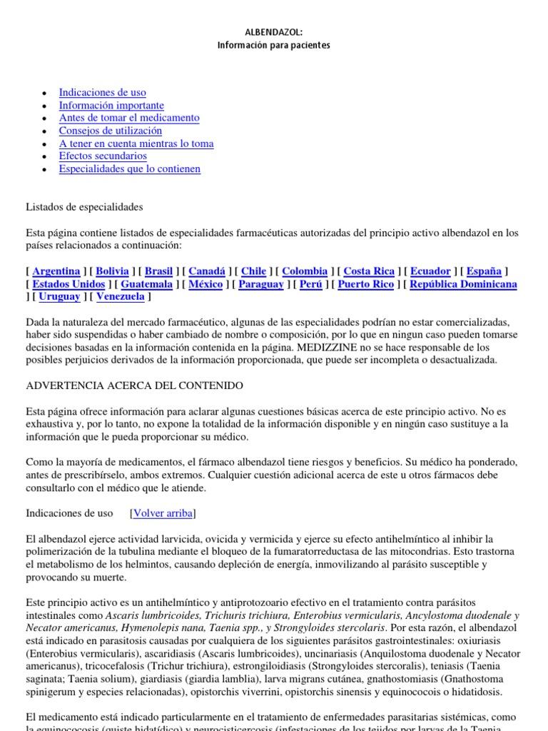 albendazol dosis oxiuriasis)