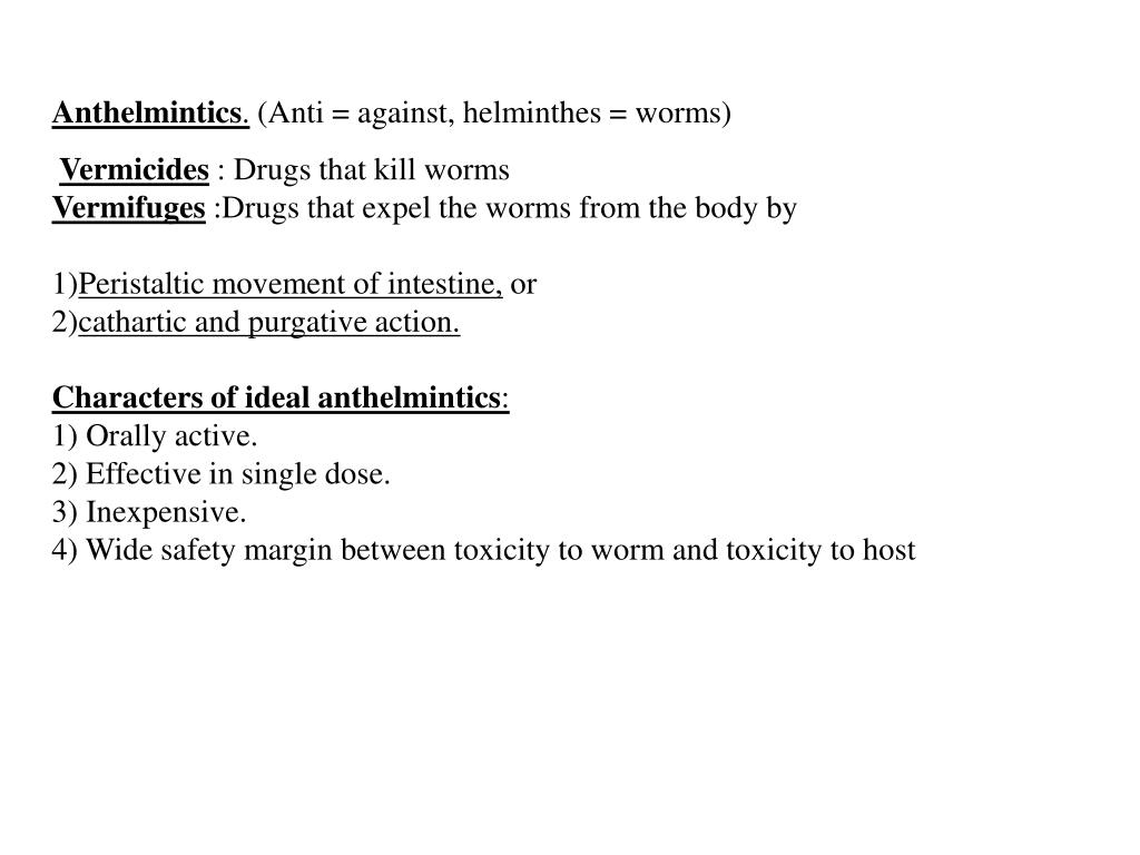 anthelmintic agents classification