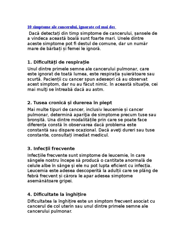 cancer sistem limfatic simptome)