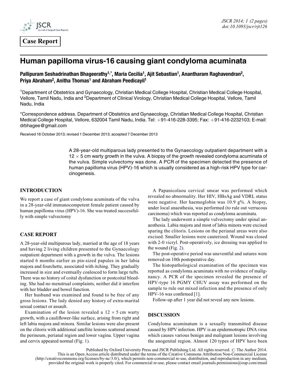 papilloma virus journal)